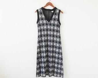 SALE~70s knit dress / sweater dress / plaid dress