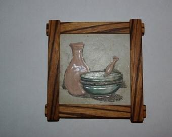 Ceramic coaster with handmade wooden frame Sous verre ceramique avec cadre en bois fait main Proud finger joints Wood Zebrano Arts & crafts