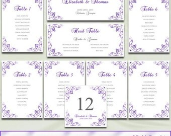 Gold wedding seating chart template diy elegant reception printable wedding seating chart template diy purple silver gray reception table plan list cards editable pronofoot35fo Images