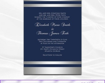 Navy Silver Wedding Invitations Template, Diy Blue Silver Foil Striped  Shower Party Invites Printable,