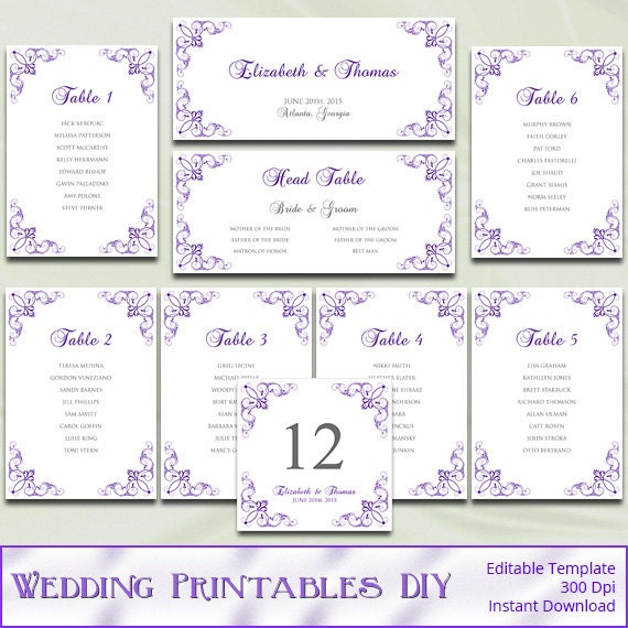 free printable wedding seating chart template - printable wedding seating chart template diy purple silver