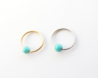 Turquoise Beaded Cartilage Earring, Cartilage Earrings, Body Piercing Jewelry, Tragus Earring, Rook Earring, CBR Cartilage Ring. 511b