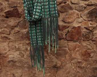 Gray cotton scarf, cotton scarf, hand knitted, crochet scarf, fringes scarf, grey and green scarf, gift for her
