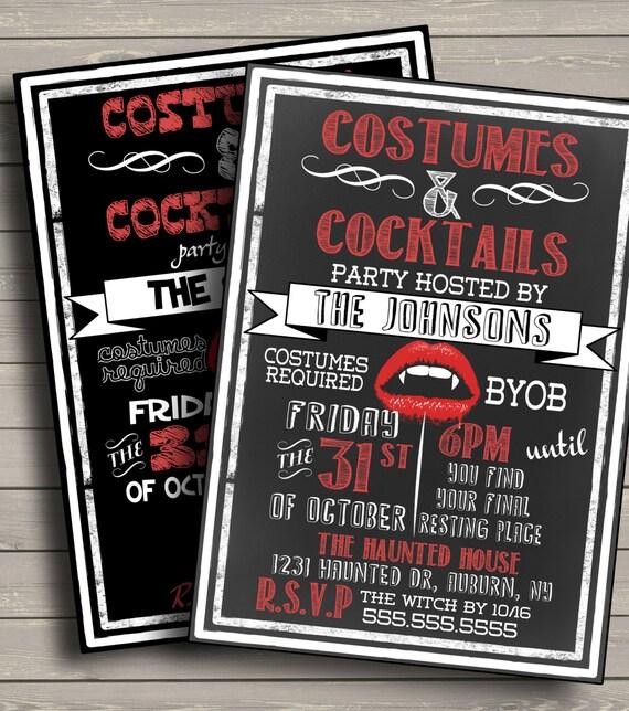 Custom Vampire Halloween Invitations, costumes and cock tails halloween chalkboard invite, several layouts, unique halloween invites
