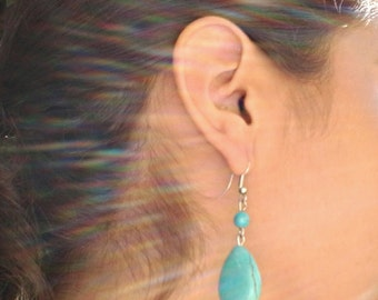 Turquoise Teardrop Silver Earrings with a Bead / Howlite Turquoise Earrings.