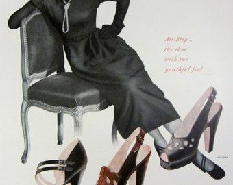 1948 Air Step Womens Shoes Vintage Advertisement Bedroom Wall Art Fashion Decor Original Magazine Print Ad Paper Ephemera