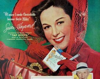 1948 Chesterfield Cigarettes Vintage Advertisement Susan Hayward Bar Wall Art Man Cave Decor Original Magazine Print Ad Paper Ephemera