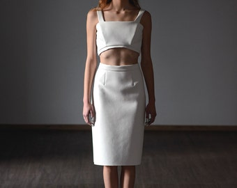white skirt- women pencil- knee skirt- simple skirt for women- white leather women skirt- summer fashion skirt - long clothes