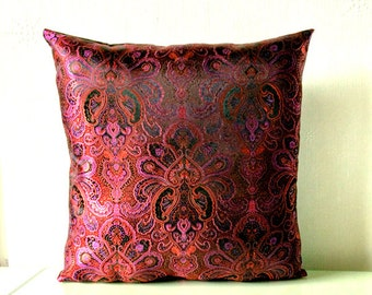 Purple Red & Black Metallic Chinese Silk Brocade Cushion Throw Pillow Cover 16x16 or 18x18 inches
