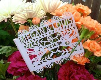 Mexican Wedding Decorations, Papel Picado, Paper Cut, Doves, Flags, Fiesta Decorations, Cinco De Mayo, Set of 12