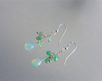 Aqua chalcedony briolette earrings.  Chalcedony and sterling silver earrings are fantastic for summer's at the beach.