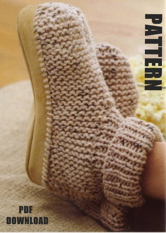 Ladies Slippers Knitting Pattern Slipper Boots PDF Instant