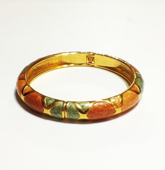 reserved vintage bangle bracelet enamel orange green
