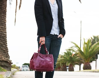 Magenta purple leather tote bag - shopper bag - everyday bag / Bolso de cuero morado magenta