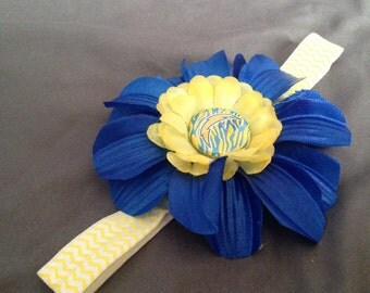 San Diego Chargers Chevron Headband worh Blue and Yellow Flowers