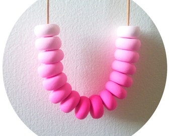 Fairy Floss - Pink Polymer Clay Necklace