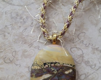 Organic Lampwork Glass Cabochon Pendant Necklace
