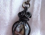 Black Caged Bead - Cracked Agate - Semi Precious Stone - Wire Wrapped - Dark Side - Halloween - Gifts for Fall