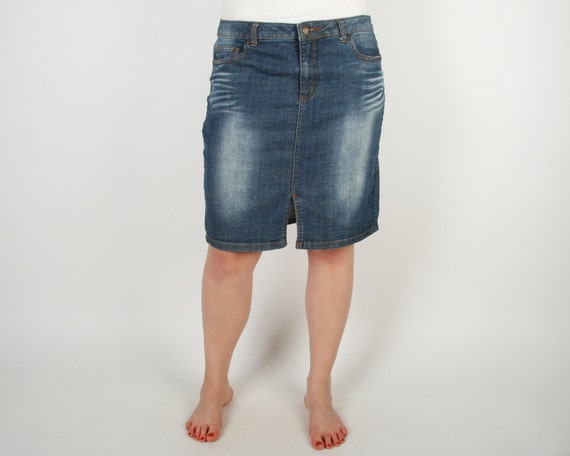 bleached denim skirt navy blue pencil by ancientgoodies