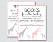 Giraffe Baby Shower Bring a Book Instead of a Card Invitation Inserts - Instant Download - Pink and Gray Girl Baby Shower - 0011-P