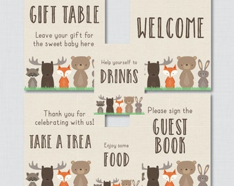 Printable Woodland Baby Shower Table Signs - SIX Signs! Welcome Sign, Favors Sign, etc- Instant Download - Woodland Baby Shower Decor - 0010