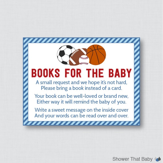 Sports Themed Baby Shower Bring A Book Instead Of A Card Invitation Inserts    Instant Download   Blue And Red Boy Baby Shower   0015 B