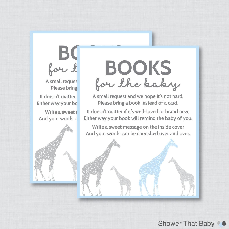 Giraffe Baby Shower Bring A Book Instead Of A Card Invitation