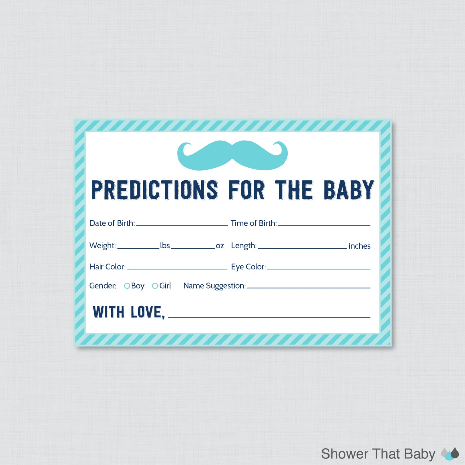 Guess The Birth Date Baby Shower Game: Mustache Baby Shower Prediction Cards Instant Download
