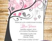 Pink Lovebirds Bridal Shower Invitation - Love Birds Bridal Shower Invite - Lovebirds Wedding Shower Invitation - 1169 PRINTABLE