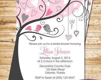 Pink Lovebirds Bridal Shower Invitation - Love Birds Bridal Shower Invite - Lovebirds Wedding Shower Invitation - 1169 PRINTABLE