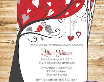 Red Lovebirds Bridal Shower Invitation - Red Love Birds Bridal Shower Invite - Lovebirds Wedding Shower Invitation - 1275 PRINTABLE
