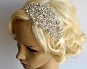Rhinestone Bridal Headband, Wedding Headpiece,Ribbon tie on Bridal Headband,wedding bridesmaid headband, flapper headband, 1920s hairpiece