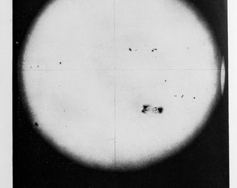1920 Antique Astronomy Print , 1893 Sunspots (Great Sunspot of 1906 to Reverse), Black and White or Monochrome, Astronomical Print