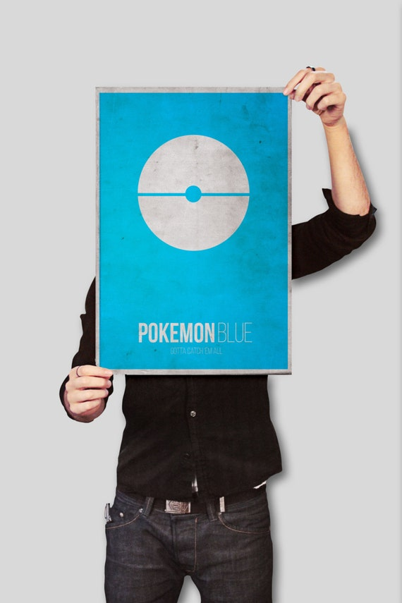 Pokemon Blue Poster - Pokemon inspired Minimal Blue Pokeball Poster - A3 Home Decor Print