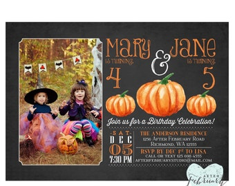 Halloween Birthday Invitation - Pumpkin Invitation - Halloween Birthday Photo Birthday Invitation Typography - Printable No.457KIDS