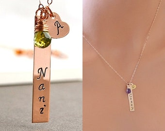 Rose Gold Vertical Bar Necklace, Two Initial Bar Necklace, Personalized Heart Necklace, Birthstone Necklace