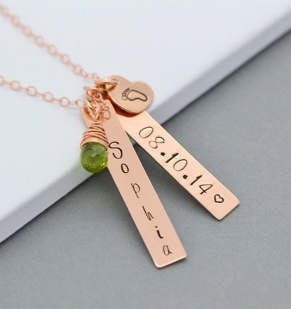 rose gold bar necklace new mom necklace nameplate necklace. Black Bedroom Furniture Sets. Home Design Ideas