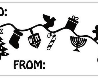 Interfaith Hanukkah/Christmas Gift Labels