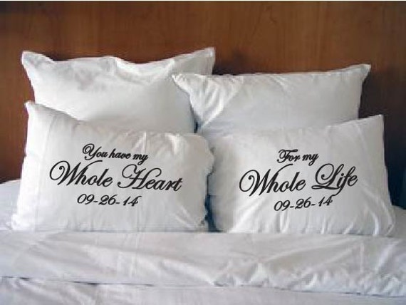 Personalised Wedding Gifts Pillow Cases : . Personalized with wedding date. Couples Pillow Cases. Wedding gift ...