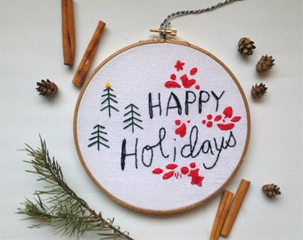 Happy Holidays Christmas Tree Metallic Embroidery Hoop Wall Art
