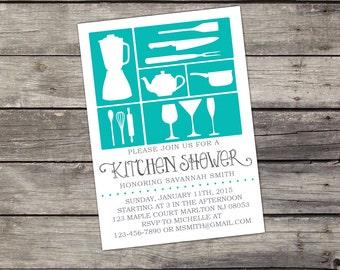 YOU PRINT Kitchen Shower Invitation Teal Blue - Bridal Shower Invitation - Teal Kitchen Shower Invitation 116
