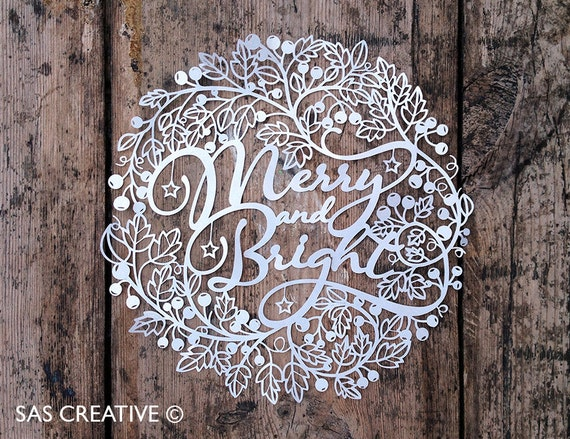 Christmas Papercut Template 'Merry And Bright' Gift