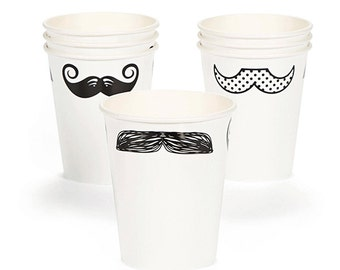Mustache Party Cups/ 8 pcs