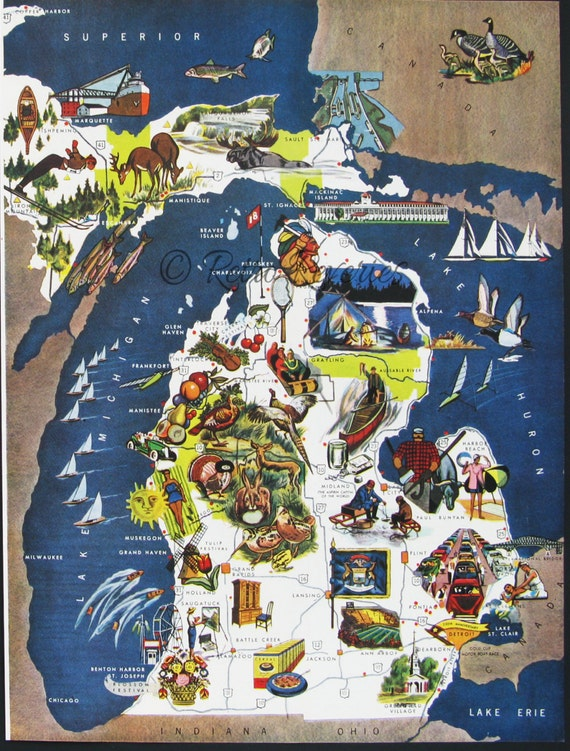 Original 1951 Michigan Tourist Map Art Print to by RetroReveries – Michigan Tourist Attractions Map