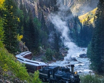 INSTANT DIGITAL DOWNLOAD: A Mountain Train Winding Through a Narrow River Gorge During the Crisp Days of Autumn