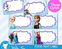 Disney Frozen Food Labels,Disney Frozen Food Tents Cards Tags, Elsa Frozen Party Printable, INSTANT DOWNLOAD - Editable PDF