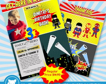 50% OFF SALE  Superhero Invitation + Thank you Card / Batman Invitation for Supherhero Birthday Party / Superhero Invite - Digital Download