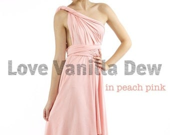 Bridesmaid Dress Infinity Dress Peach Pink Knee Length Wrap Convertible Dress Wedding Dress