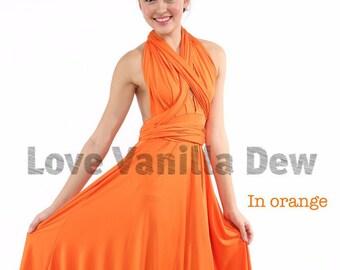 Bridesmaid Dress Infinity Dress Bright Orange Knee Length Wrap Convertible Dress Wedding Dress