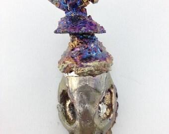 Bismuth Crystal Rat Skull Geode (rattus12)